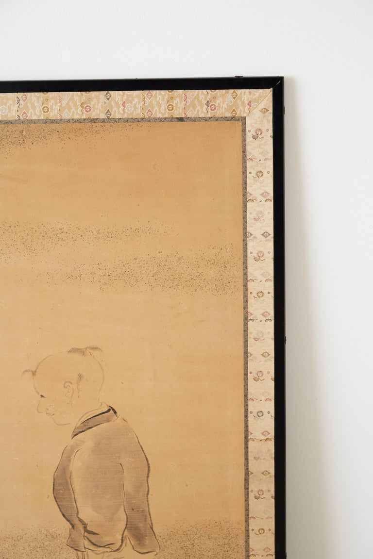 Silk Japanese Two Panel Screen of Child with Geese For Sale