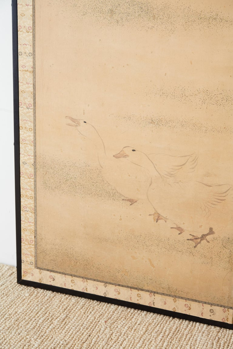 Japanese Two Panel Screen of Child with Geese For Sale 1