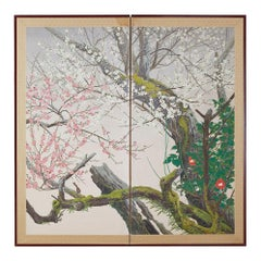 Japanese Two-Panel Screen of Spring Flora Prunus Blossoms