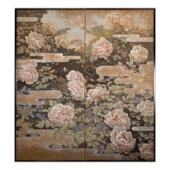 Japanese Two Panel Screen Peonies In the Mist