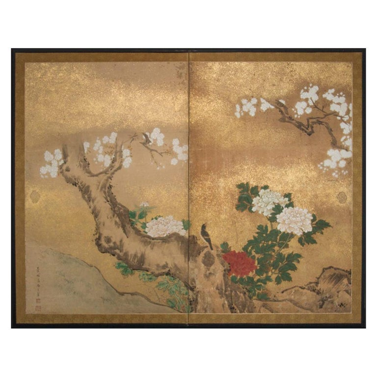 Japanese Two-Panel Screen Peony and Cherry For Sale