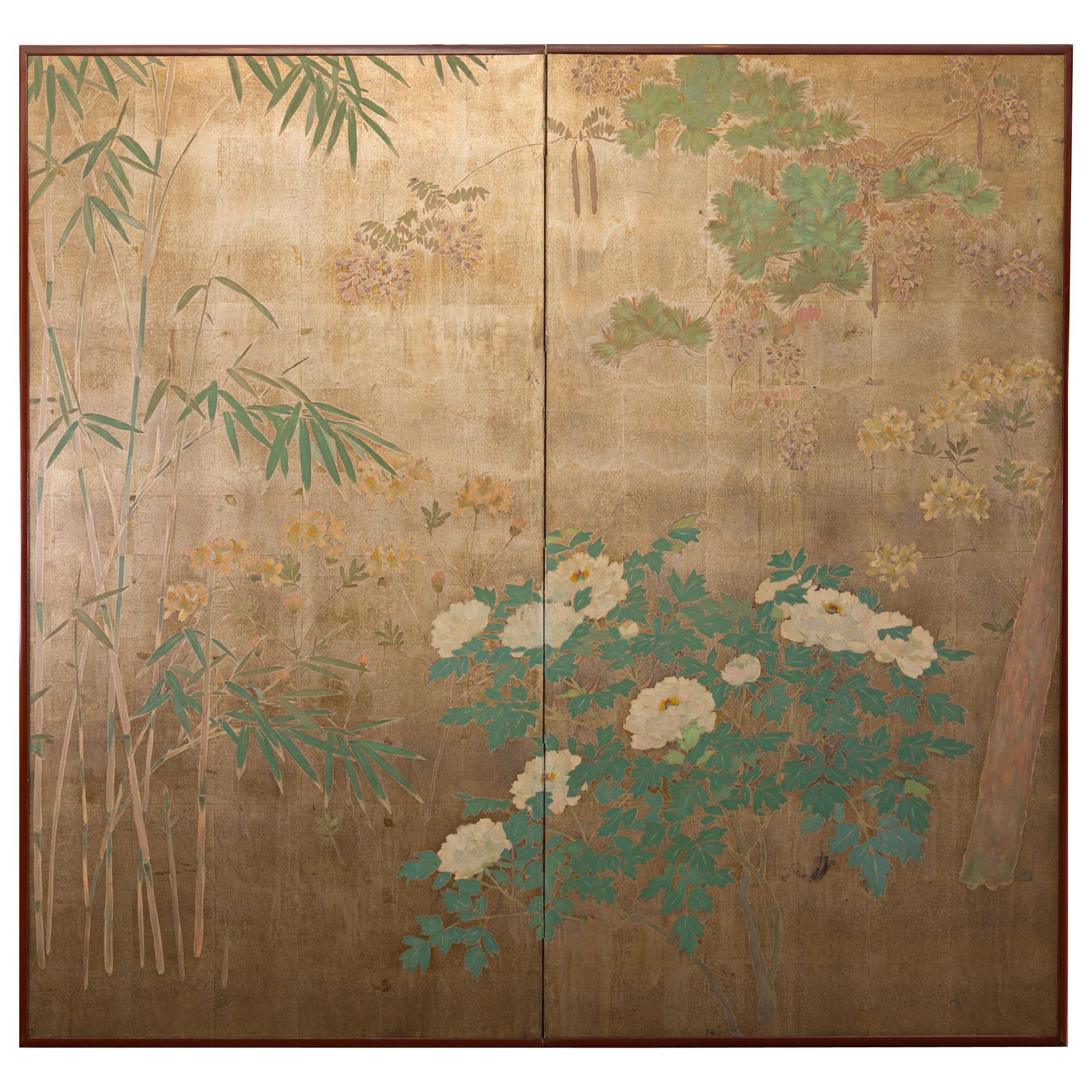 Japanese Two-Panel Screen Peony, Wisteria, Cherry and Bamboo on Soft Silver