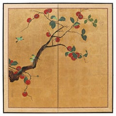 Japanese Two-Panel Screen Persimmon Tree with Birds