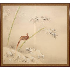 Japanese Two Panel Screen: Pheasant and Snow Covered Bamboo