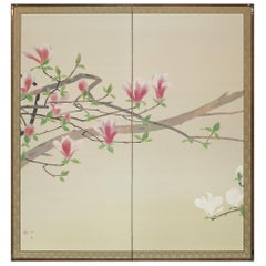 Japanese Two-Panel Screen Pink and White Magnolias in Early Bloom