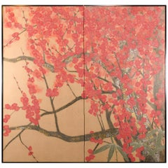 Japanese Two-Panel Screen, Red Plum, Rare Obara Paper Art Screen