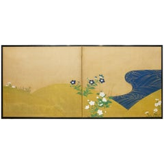 Japanese Two-Panel Screen, Rimpa and Deco Style Painting of Flowers by Stream