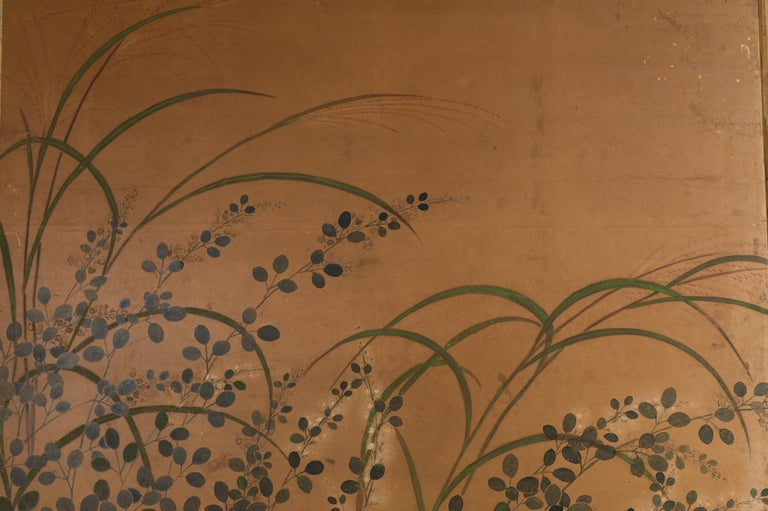 Edo Japanese Two-Panel Screen Rimpa Floral Landscape For Sale