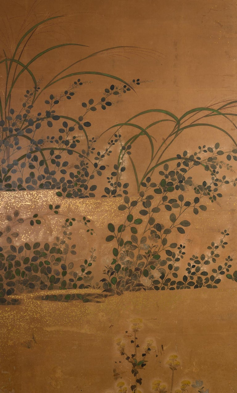 Japanese Two-Panel Screen Rimpa Floral Landscape In Good Condition For Sale In Hudson, NY