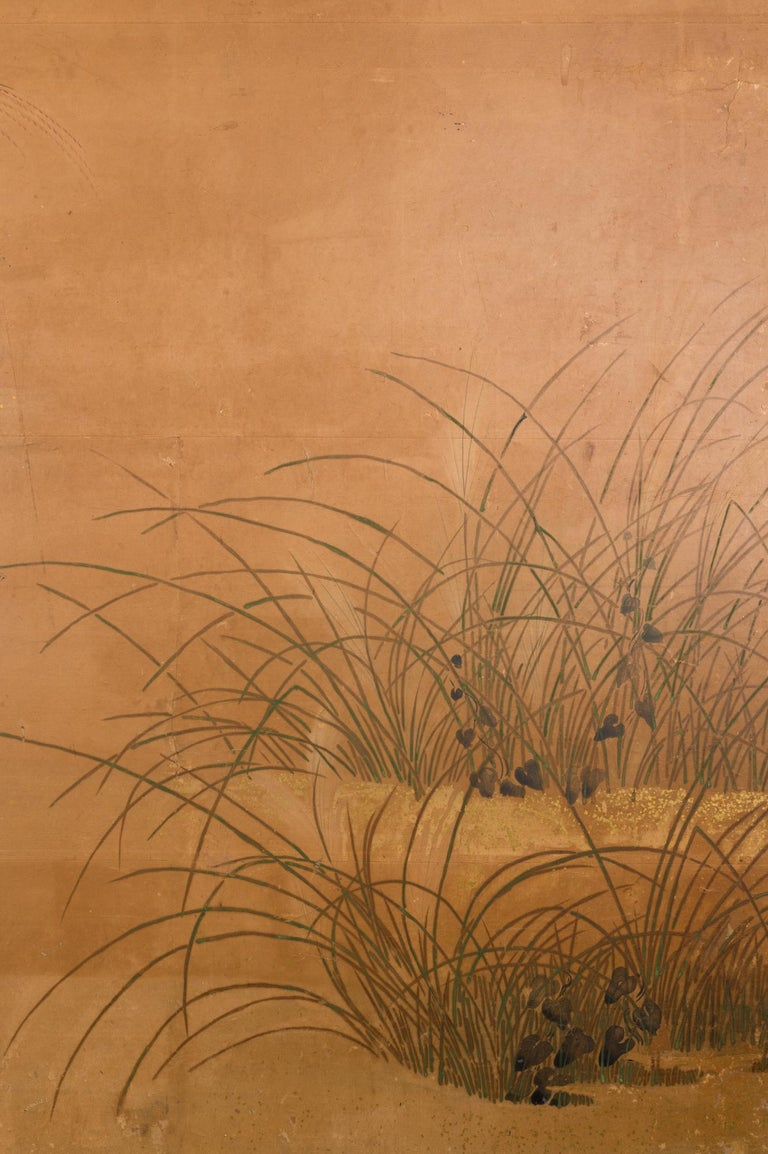 19th Century Japanese Two-Panel Screen Rimpa Floral Landscape For Sale