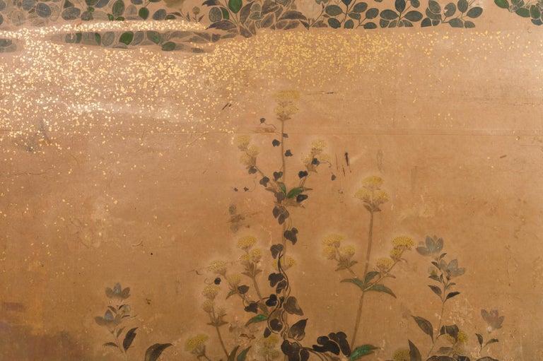 Japanese Two-Panel Screen Rimpa Floral Landscape For Sale 1