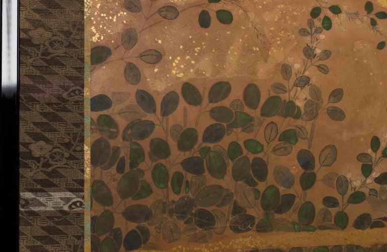 Japanese Two-Panel Screen Rimpa Floral Landscape For Sale 2