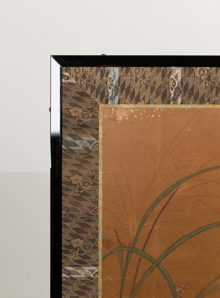 Japanese Two-Panel Screen Rimpa Floral Landscape For Sale 3