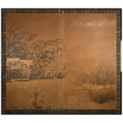 Japanese Two-Panel Screen Rimpa Floral Landscape