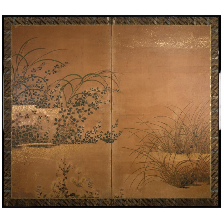 Japanese Two-Panel Screen Rimpa Floral Landscape For Sale