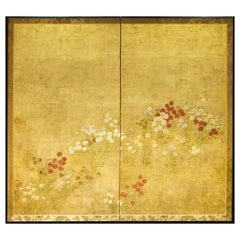 Japanese Two-Panel Screen, Rimpa Nadeshiko Flowers on Heavy Gold Leaf