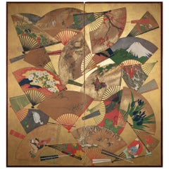 Japanese Two-Panel Screen Rimpa Painting of Fans on Gold