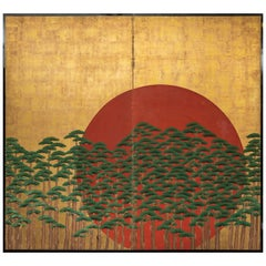 Japanese Two-Panel Screen Rising Sun through the Pine