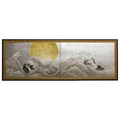 Japanese Two-Panel Screen, Rocky Coastline with Moon on Silver