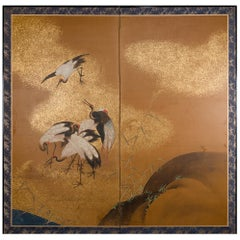 Japanese Two Panel Screen Sedge of Cranes in Rolling Landscape with Gold Clouds