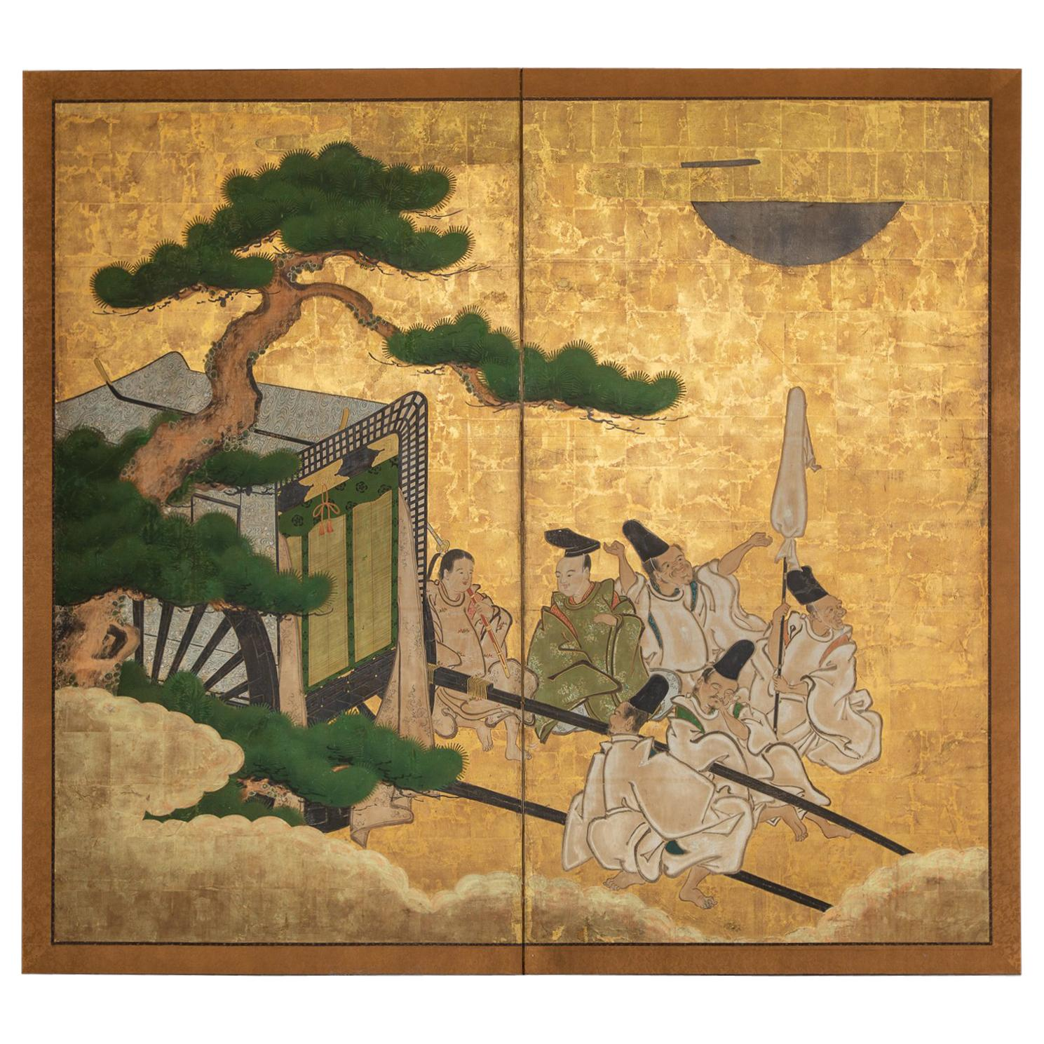 Japanese Two-Panel Screen, Shogun's Journey to Edo
