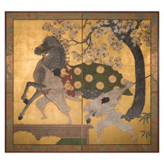 Japanese Two Panel Screen Spirited Horse and Grooms Under Cherry Tree