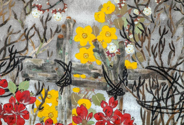Japanese two-panel screen: Spring flowers on silver. Meiji period painting (1868-1912) of Spring flowers including peonies and cherry blossoms against a garden fence. Signature and seal read: Mukai. Mineral pigments painted on silver leaf.
