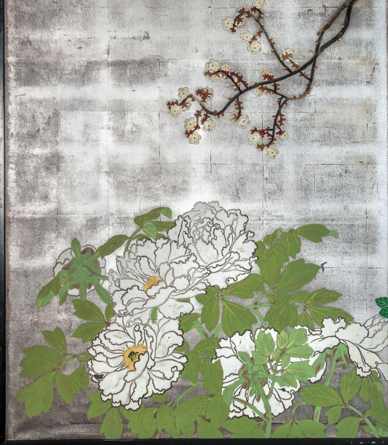 Japanese Two-Panel Screen Spring Flowers on Silver In Good Condition For Sale In Hudson, NY