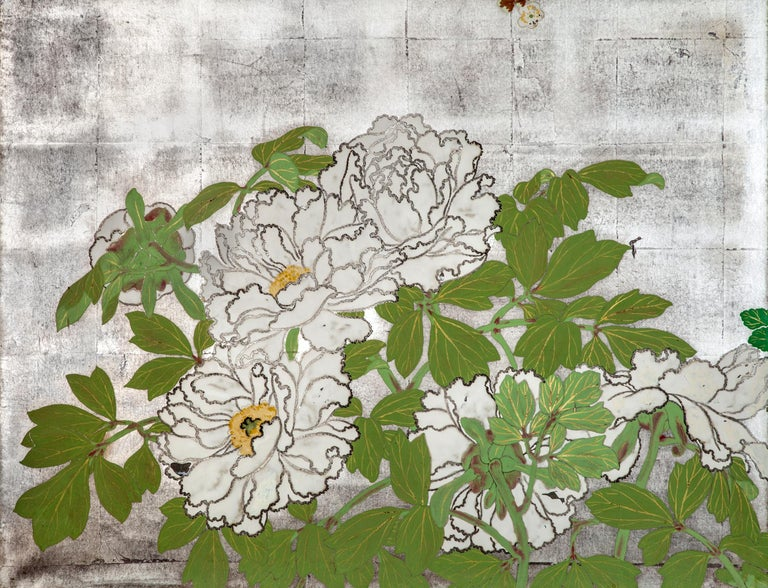 Early 20th Century Japanese Two-Panel Screen Spring Flowers on Silver For Sale