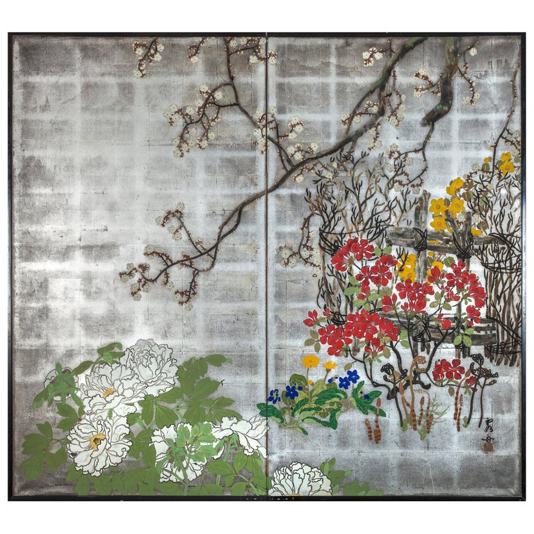 Japanese Two-Panel Screen Spring Flowers on Silver For Sale