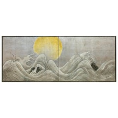 Japanese Two-Panel Screen Stylized Waves on Silver Leaf and Golden Sun