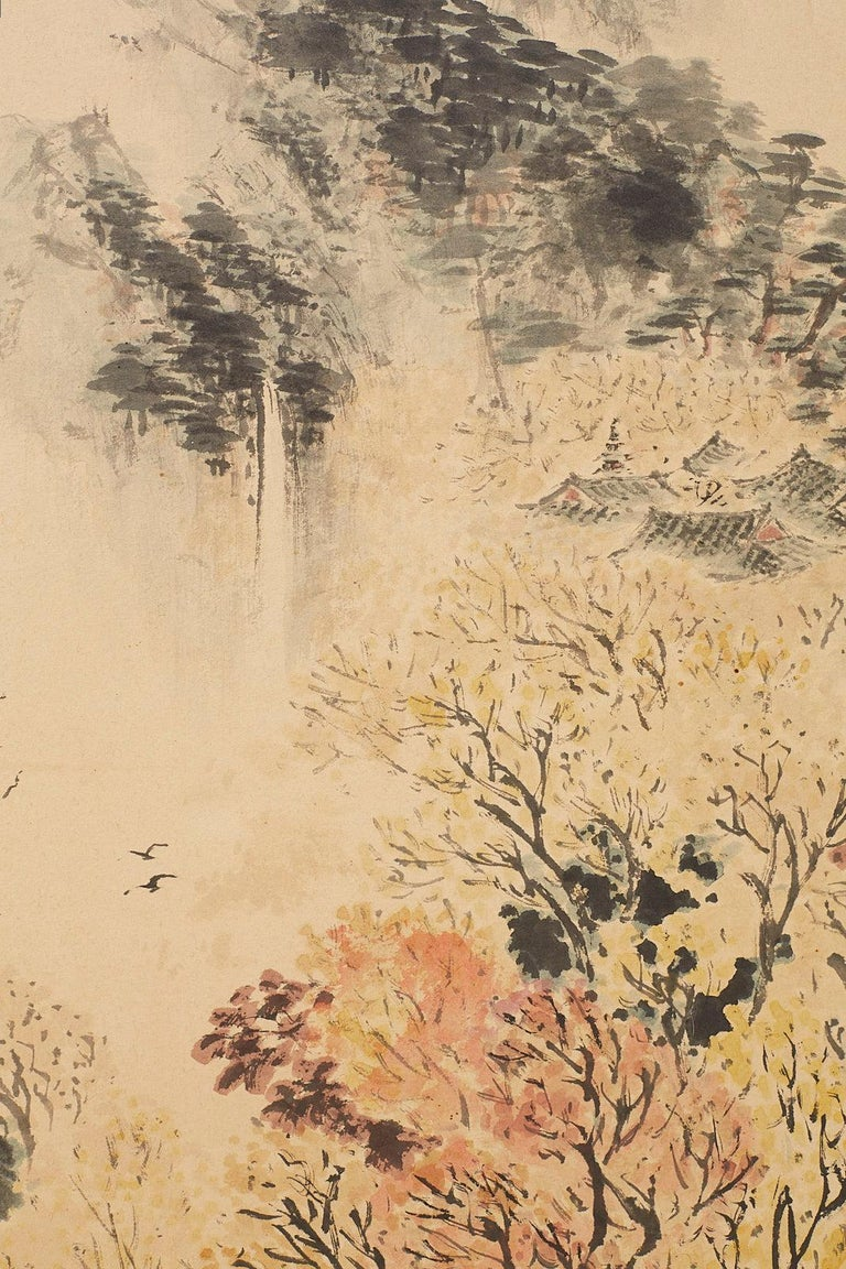Japanese Two-Panel Screen Summer and Autumn Landscapes For Sale 4