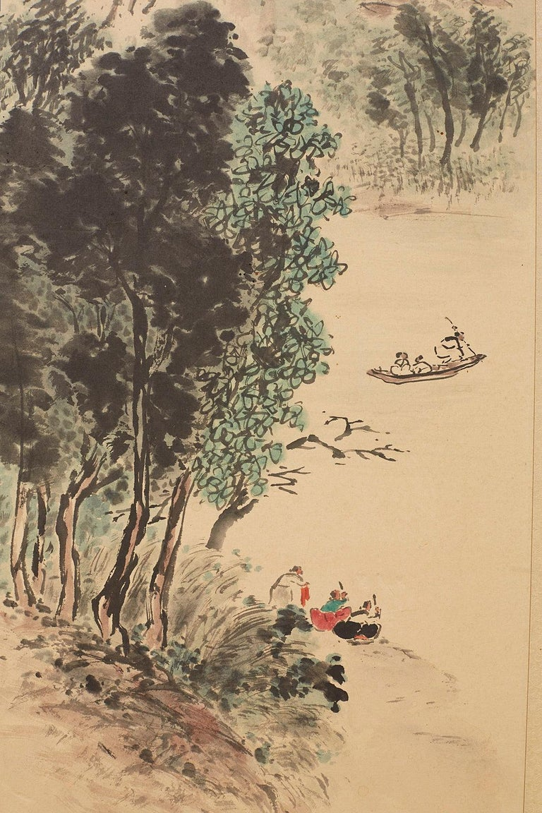Japanese Two-Panel Screen Summer and Autumn Landscapes For Sale 5