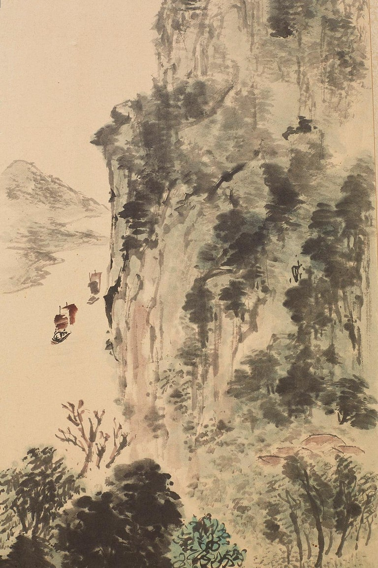 Japanese Two-Panel Screen Summer and Autumn Landscapes For Sale 6