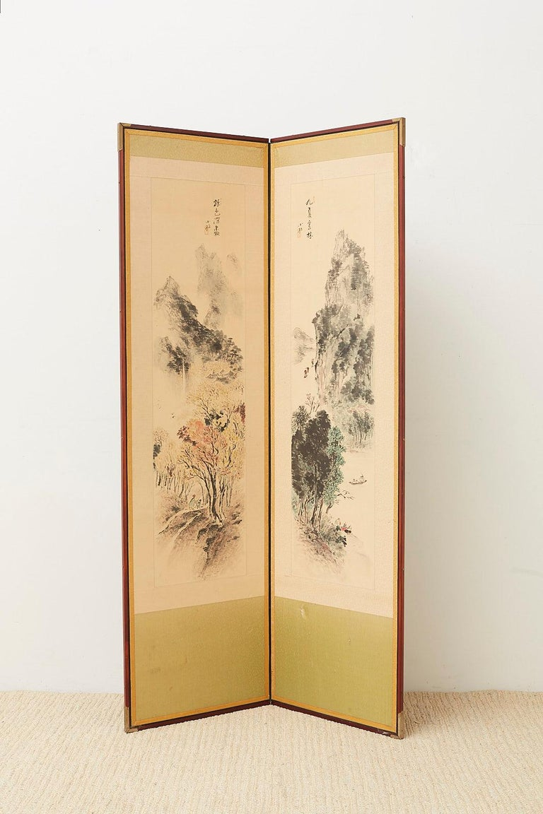 Lacquered Japanese Two-Panel Screen Summer and Autumn Landscapes For Sale