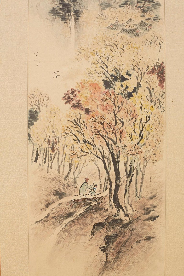 Japanese Two-Panel Screen Summer and Autumn Landscapes For Sale 2