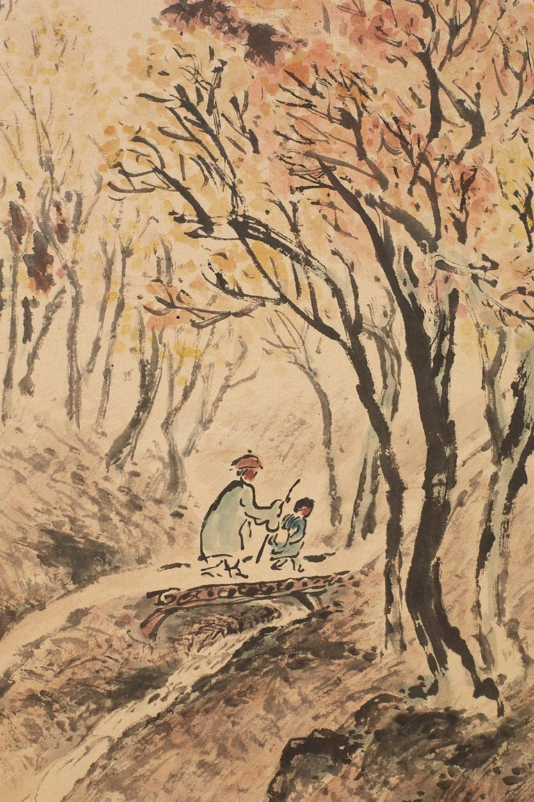 Japanese Two-Panel Screen Summer and Autumn Landscapes For Sale 3