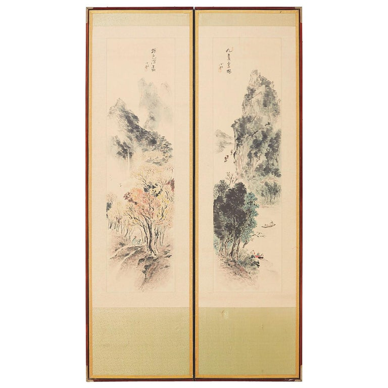 Japanese Two-Panel Screen Summer and Autumn Landscapes For Sale