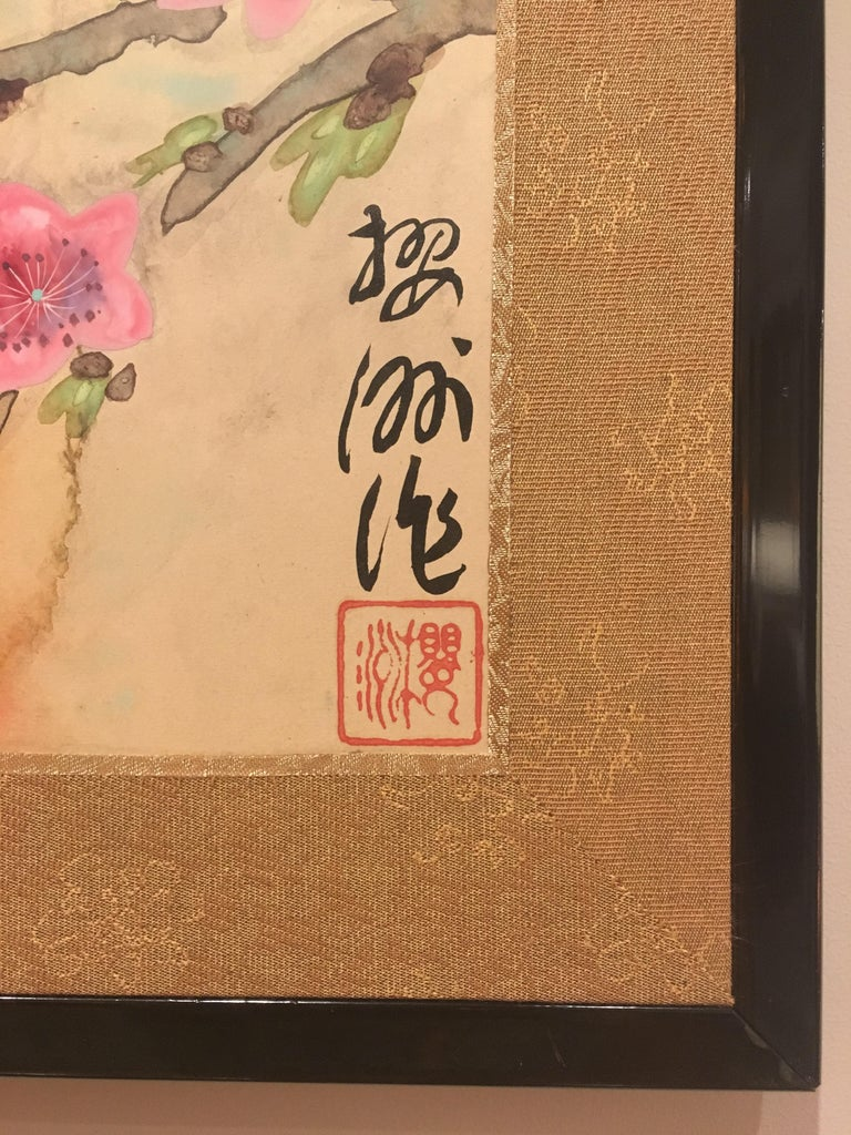 Japanese Two-Panel Screen Spring Flowers For Sale 5