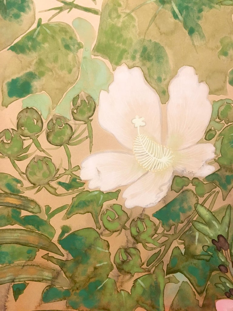 Showa Japanese Two-Panel Screen Spring Flowers For Sale