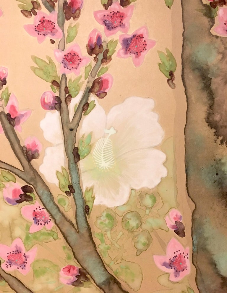 Japanese Two-Panel Screen Spring Flowers For Sale 1