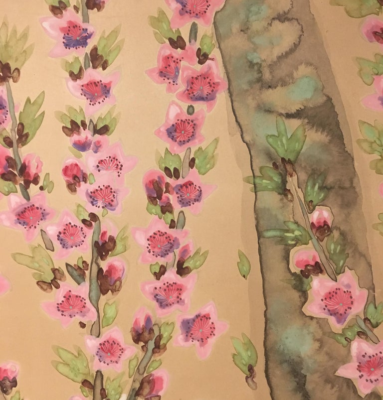 Japanese Two-Panel Screen Spring Flowers For Sale 2