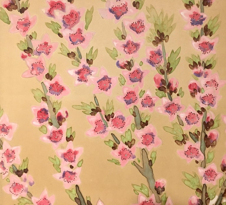 Japanese Two-Panel Screen Spring Flowers For Sale 3