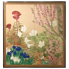 Japanese Two-Panel Screen Spring Flowers