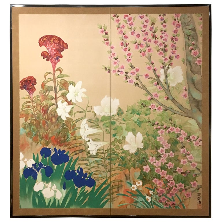 Japanese Two-Panel Screen Spring Flowers For Sale