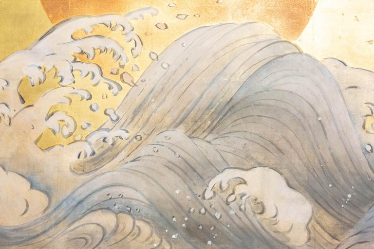 Hand-Painted Japanese Two Panel Screen Sun Over Cresting Waves on Gold Leaf For Sale