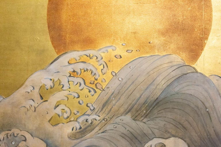 Japanese Two Panel Screen Sun Over Cresting Waves on Gold Leaf In Good Condition For Sale In Hudson, NY