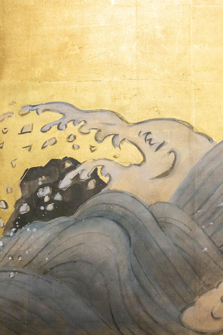 20th Century Japanese Two Panel Screen Sun Over Cresting Waves on Gold Leaf For Sale