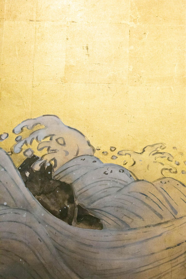 Japanese Two Panel Screen Sun Over Cresting Waves on Gold Leaf For Sale 1