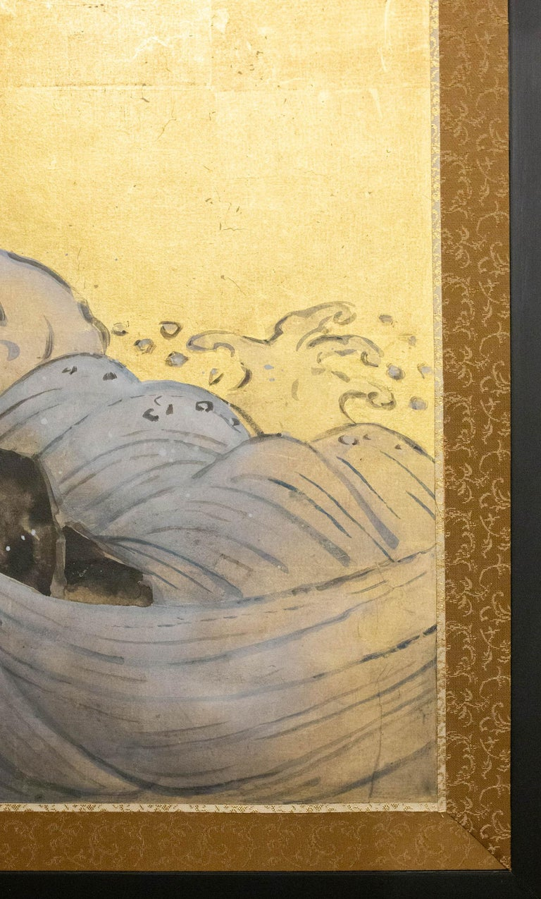 Japanese Two Panel Screen Sun Over Cresting Waves on Gold Leaf For Sale 2